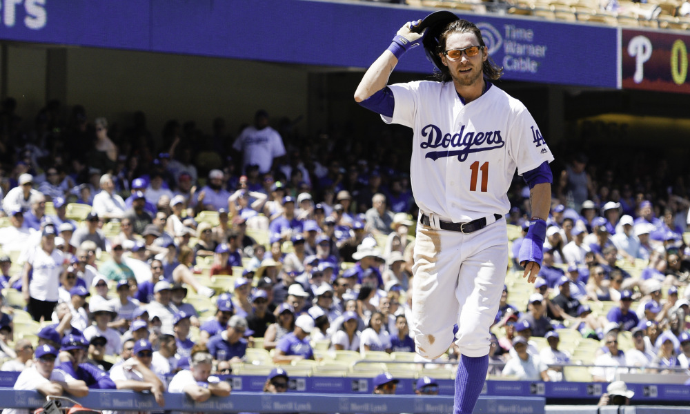 Los Angeles Dodgers' Josh Reddick in action during a baseball game against the Philadelphia Phillies in Los Angeles, Wednesday, Aug. 10, 2016. (AP Photo/Kelvin Kuo) ORG XMIT: OTKK
