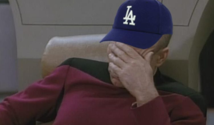 Picard wearing Dodger hat